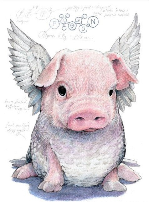 Cute colored sitting angel pig baby with wings tattoo design