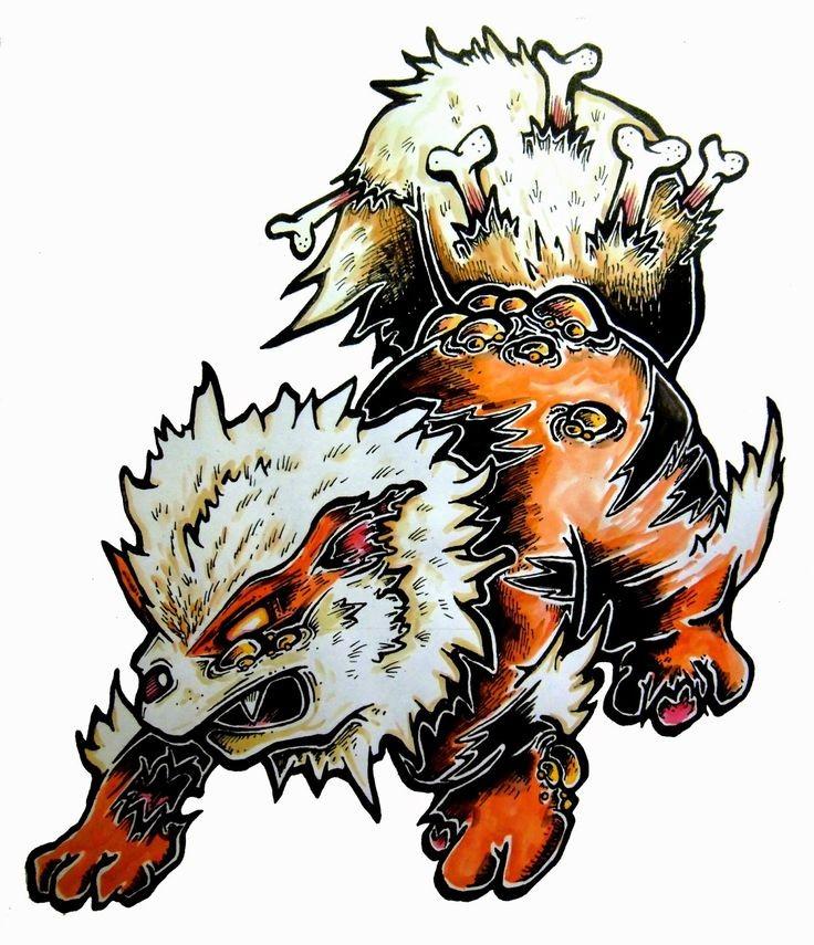 Cute colored zombie furry animal tattoo design