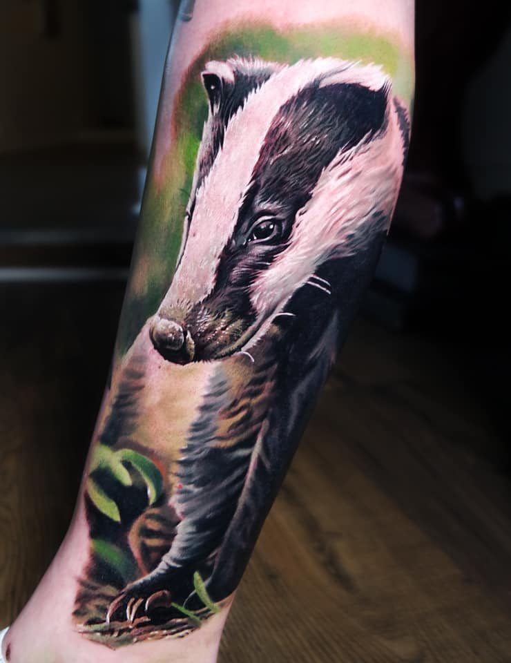 Cute colorful Badger tattoo