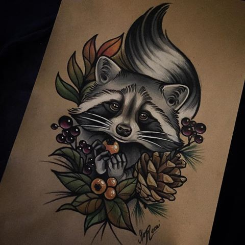 Cute colorful forest animal with berries and pine strobile tattoo design