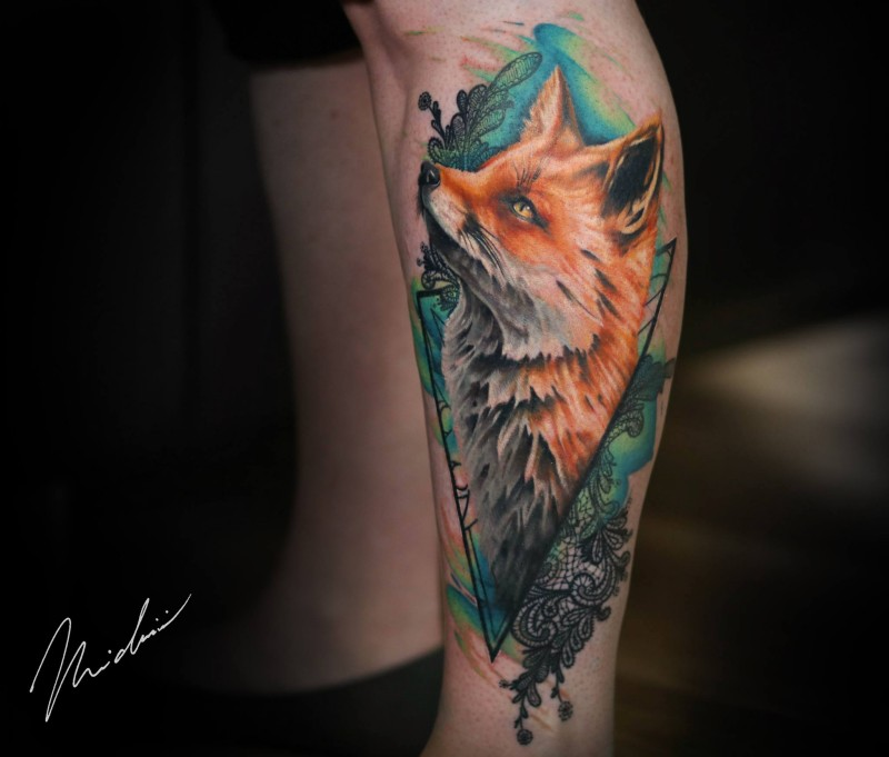 Cute colorfull fox tattoo on leg