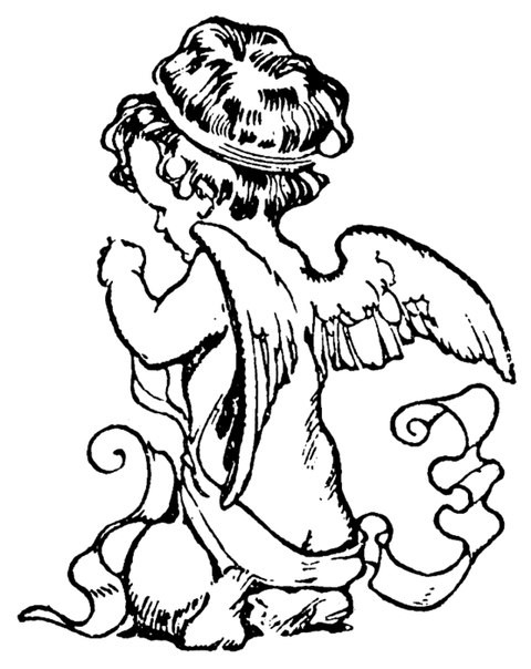 Cute colorless baby angel with curly ribbons tattoo design