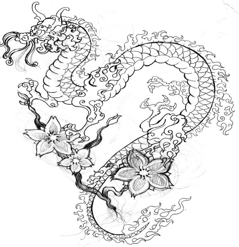 Cute colorless oriental dragon on cherry flowered branch tattoo design