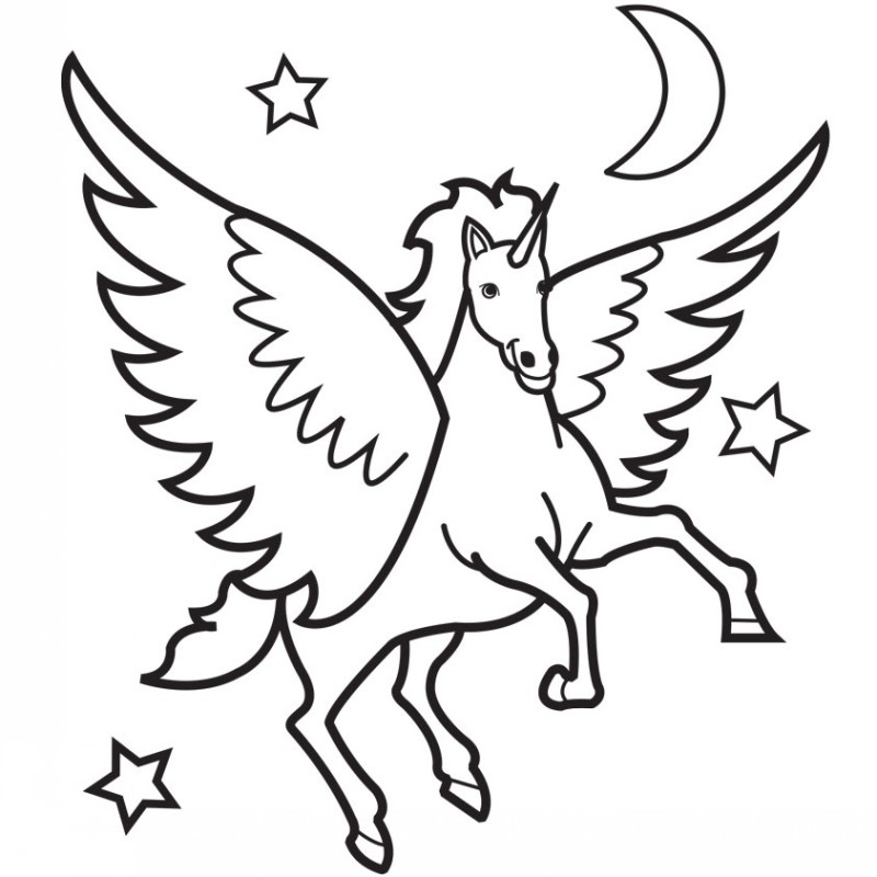 Cute colorless pegasus flying among stars tattoo design