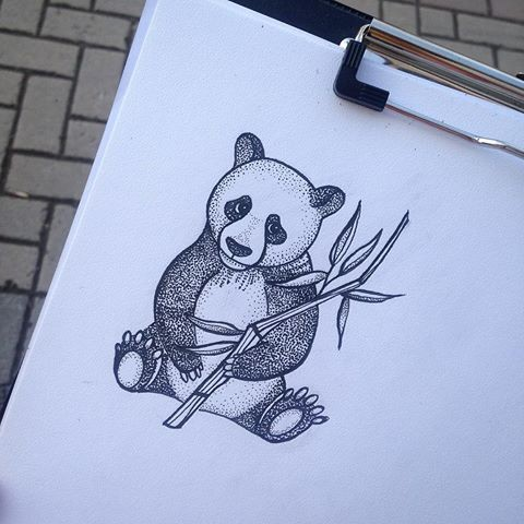 Cute Dotwork Panda Cub With Bamboo Stem Tattoo Design Tattooimages Biz
