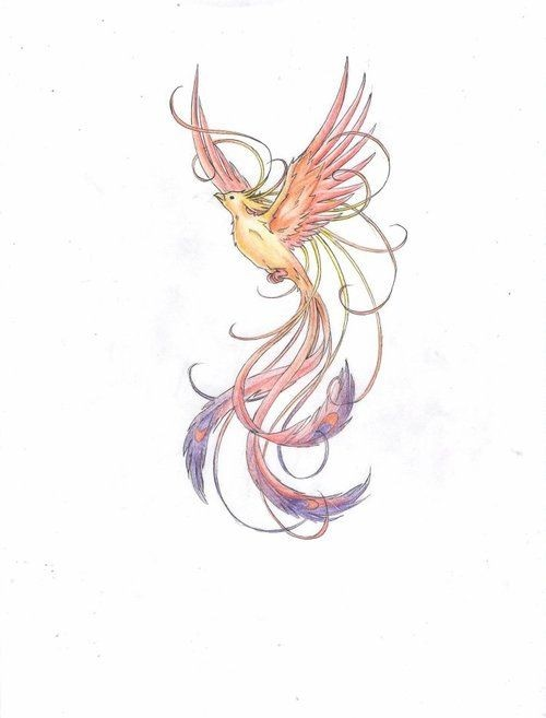 Cute elegant pale-coloring phoenix tattoo design