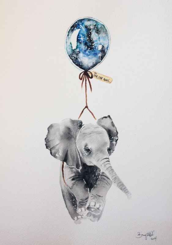 044d5f9700911 Cute elephant cub hanging on a space balloon tattoo design ...