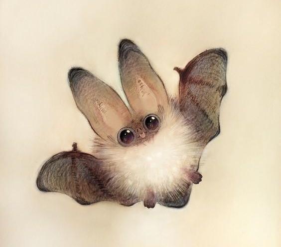 Cute fluffy flying bat tattoo design