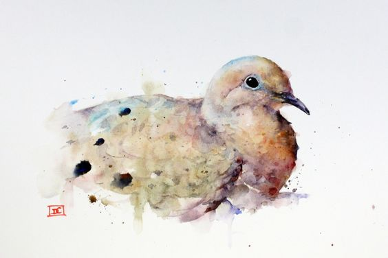 Cute fluffy watercolor dove tattoo design