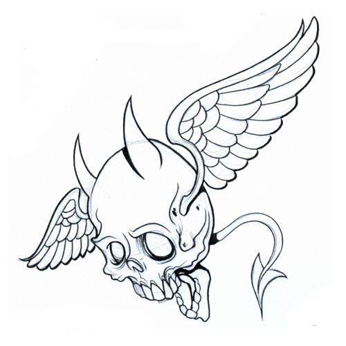 Cute flying devil skull tattoo design