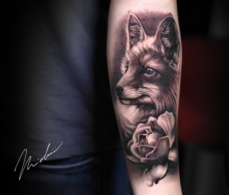 Cute fox and flower tattoo