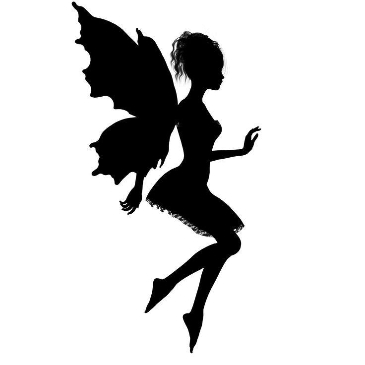 Cute full-black flying fairy silhouette tattoo design