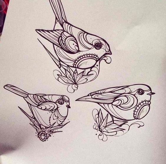 Cute gem-decorated sparrow trio tattoo design
