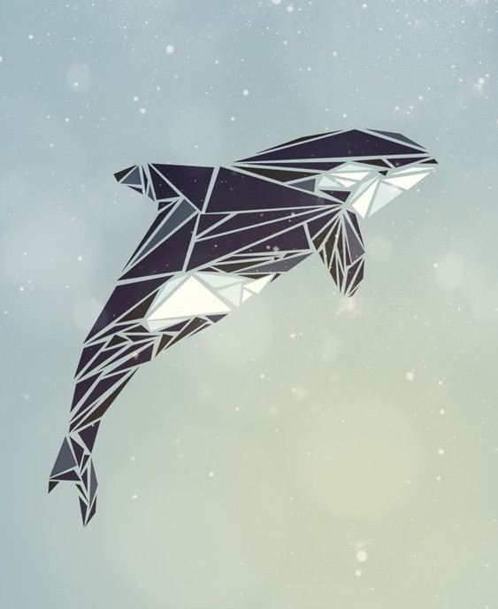Cute geometric jumping whale with white belly tattoo design