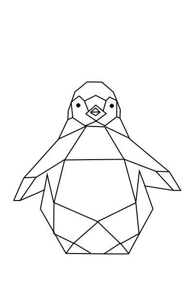 Cute geometric penguin tattoo design