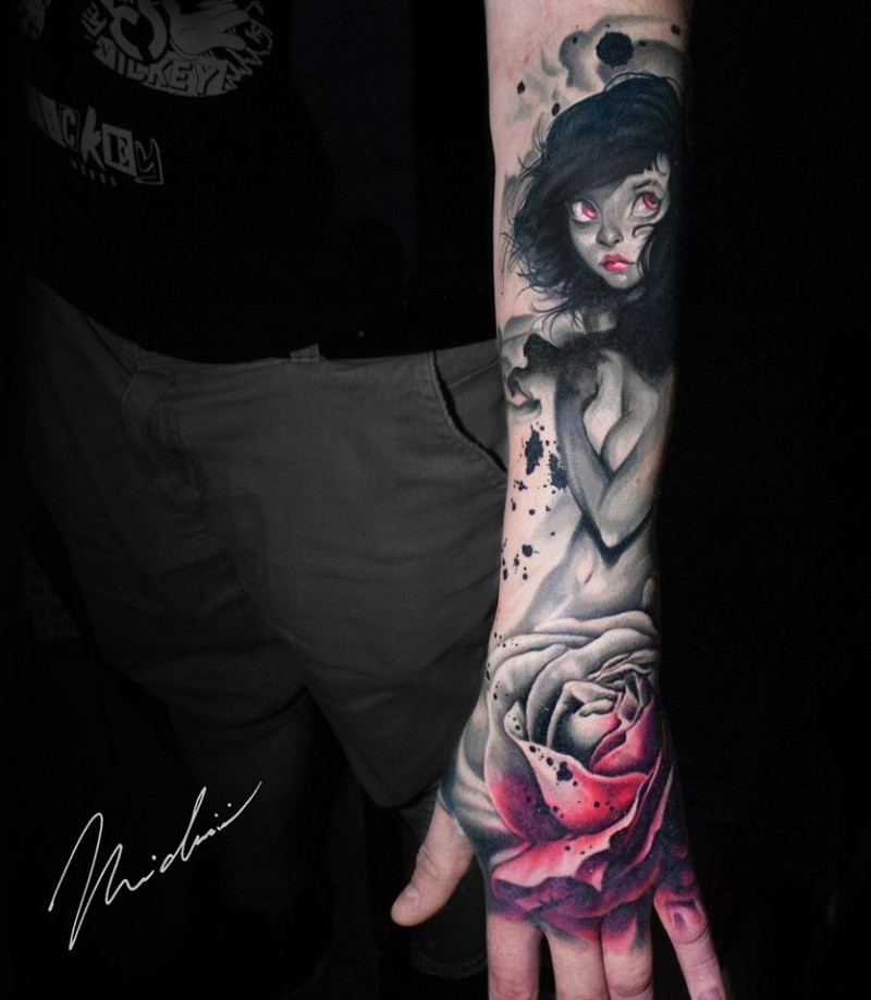 Cute girl and rose tattoo on forearm