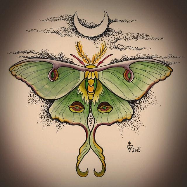 Cute green moth on dotwork moonlight background tattoo design