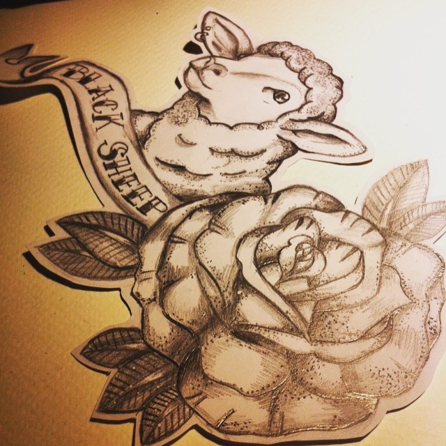 Cute grey-ink sheep and huge rose tattoo design