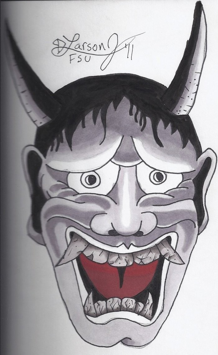 Cute japanese screaming devil face tattoo design