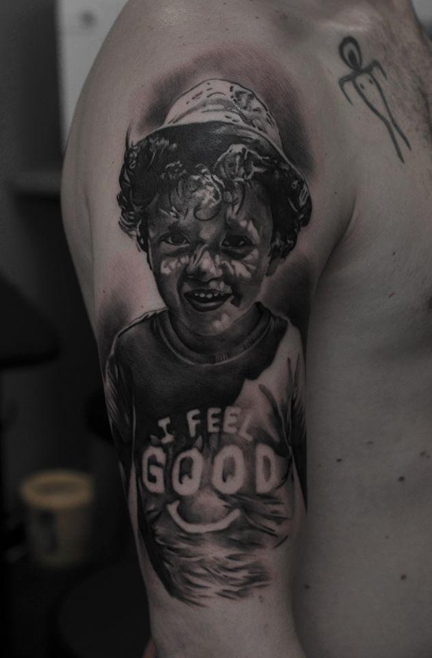 Cute kid tattoo on shoulder