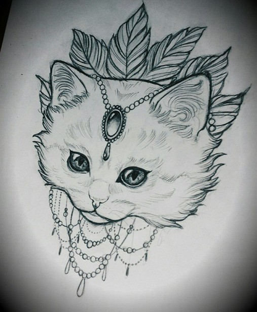 Cute Lace White Cat On Leaf Background Tattoo Design