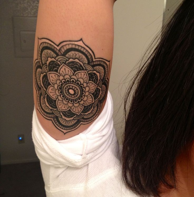 cute little black ink mandala flower tattoo for girls on upper arm. Black Bedroom Furniture Sets. Home Design Ideas