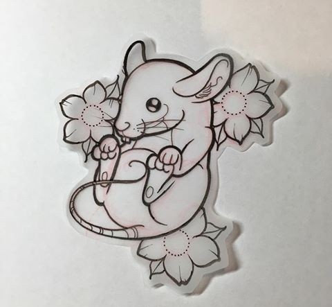 Cute little mouse and cherry blossom tattoo design