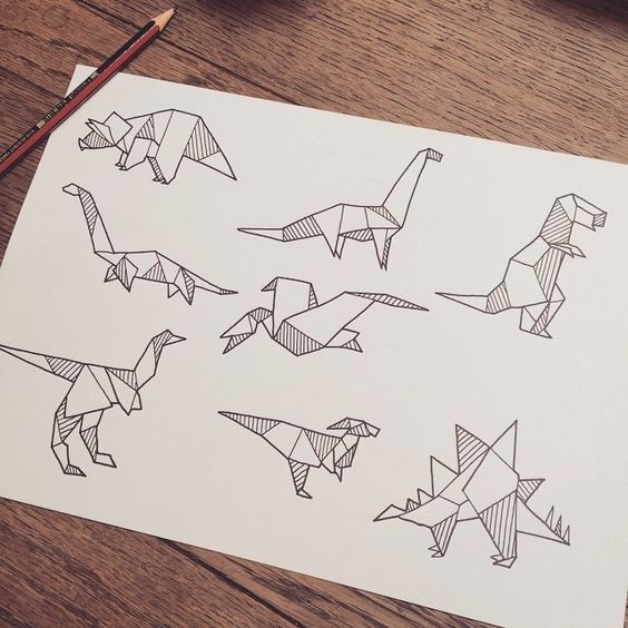 Cute Little Origami Dinosaur Tattoo Designs