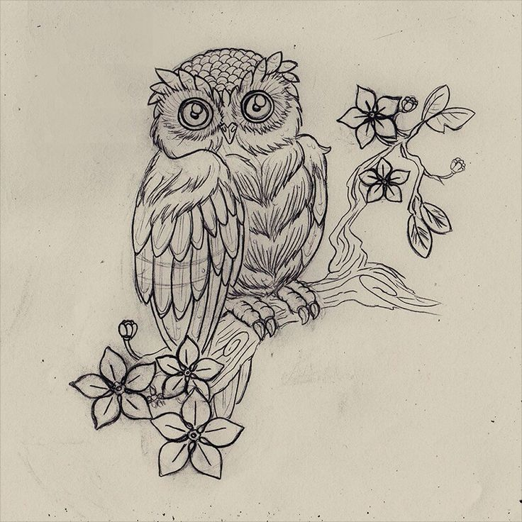 Cute little owl sitting on flowered tree branch tattoo design