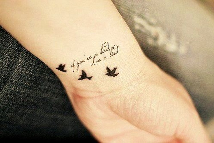 Cute little quote with birds tattoo on arm for girls