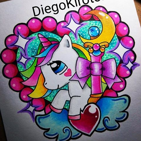 Cute lolipop colorful unicorn with a lot of elements in heart frame tattoo design