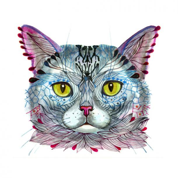Cute magical cat with colorful pattern tattoo design