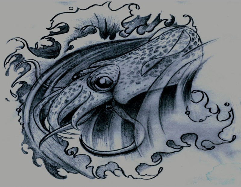 Cute new school water animal swimming in waves tattoo design by Dvampyrelestat
