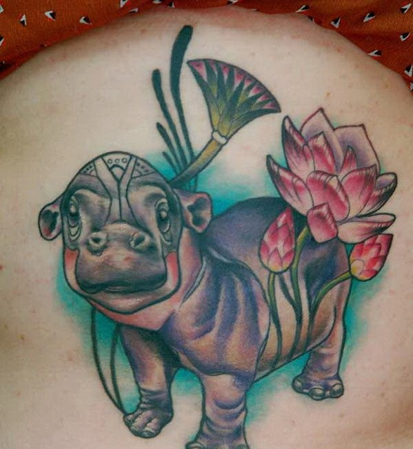 Cute old school colorful hippo tattoo on thigh for Colorful thigh tattoos
