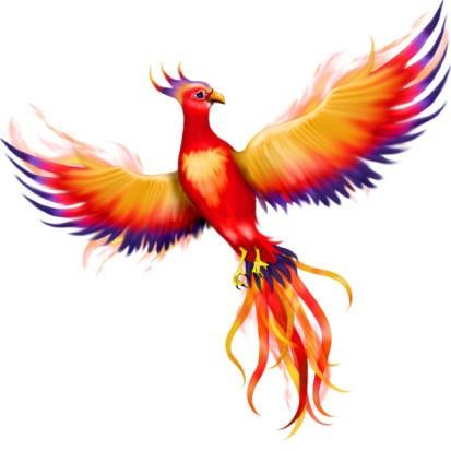 Cute orange-and-blue featered phoenix tattoo design