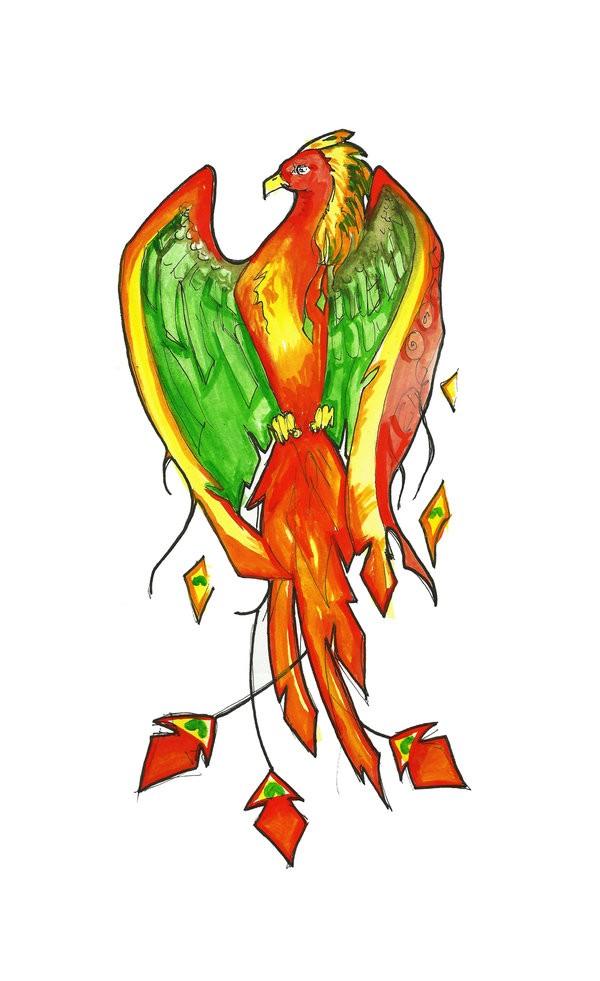Cute orange-and-green sitting phoenix tattoo design