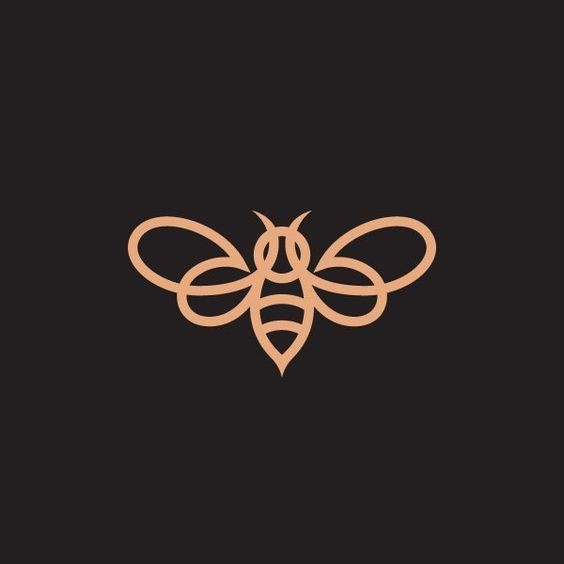 Cute orange-line bee sign tattoo design