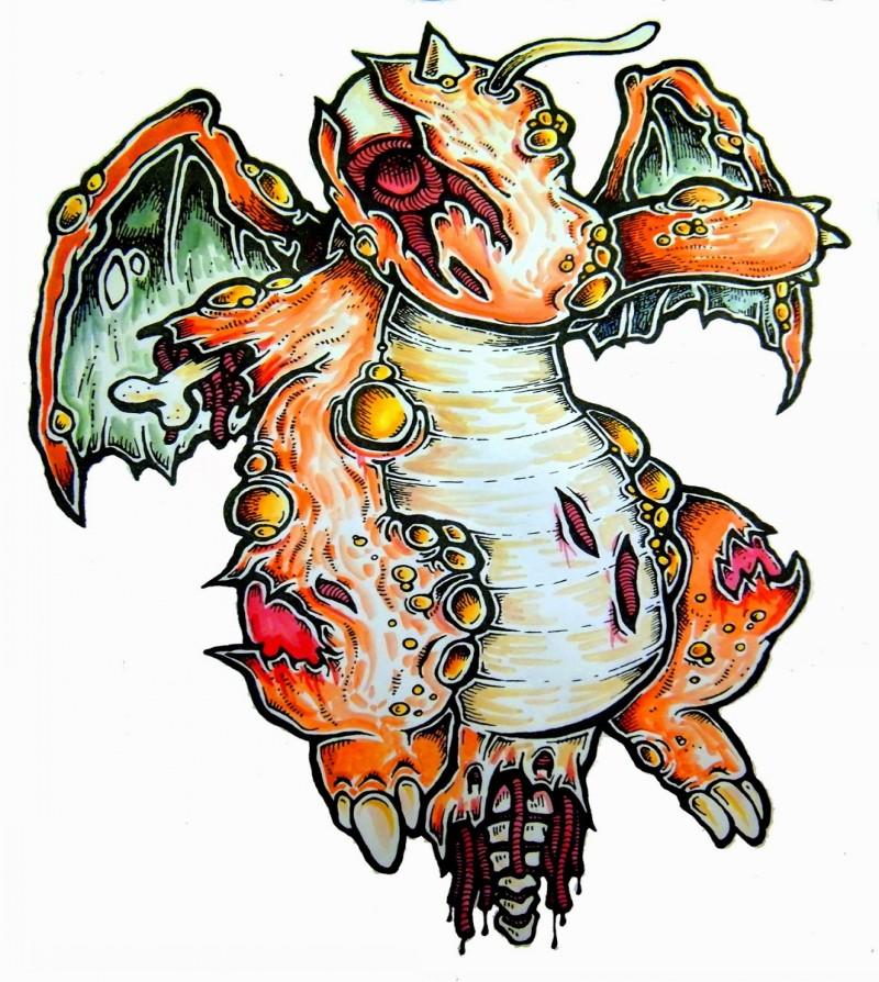 Cute orange zombie dragon pokemon tattoo design