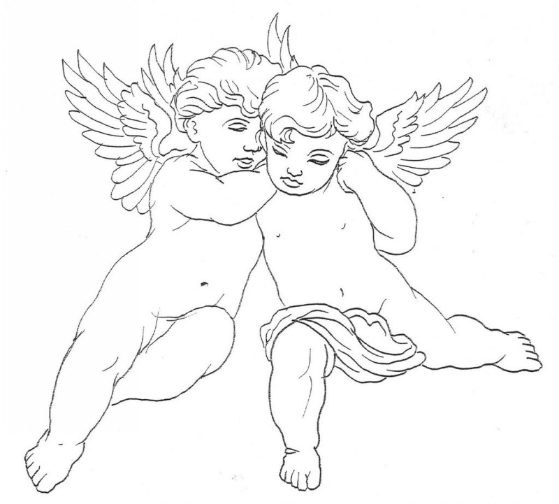 Cute outline baby angels tattoo design