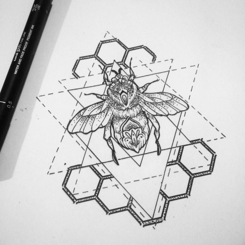 Cute outline bug with honeycombs and geometric dotted lines tattoo design