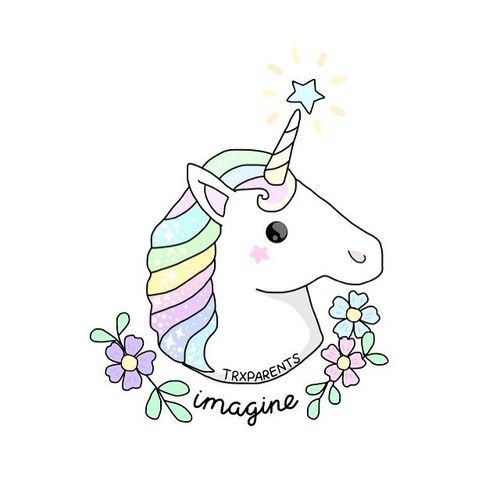 Cute pale-colored unicorn head with tiny flowers and lettering tattoo design