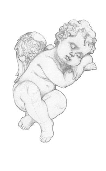Cute pencilwork sleeping cherub angel tattoo design