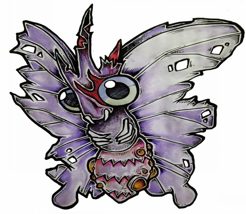 Cute purple zombie butterfly tattoo design