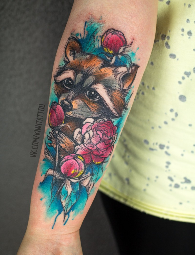 Cute racoon and flowers tattoo on wrist