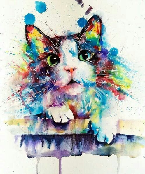 Cute rainbow waterolor animal tattoo design