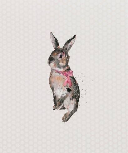 Cute rodent with pink bow on neck tattoo design