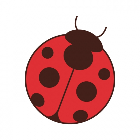 Cute round colorful ladybug tattoo design