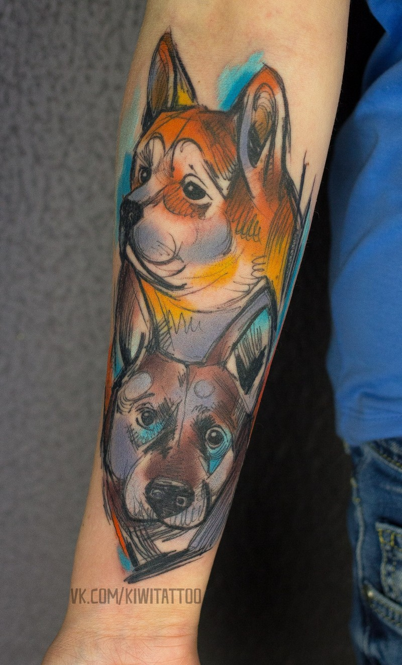 Cute sketch graphics dogs tattoo on wrist