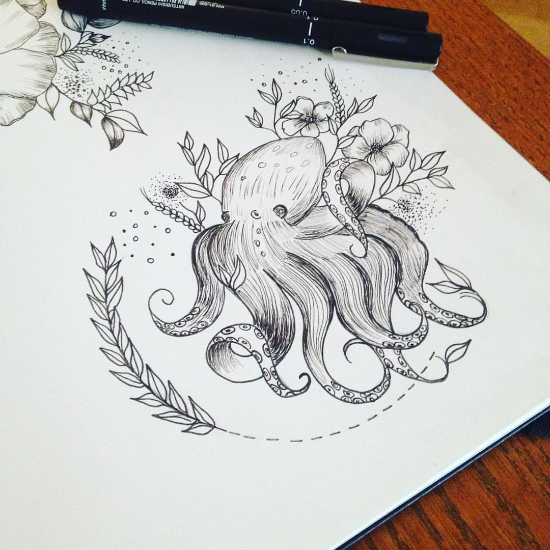 Cute Small Black And White Octopus With Flowers Tattoo Design