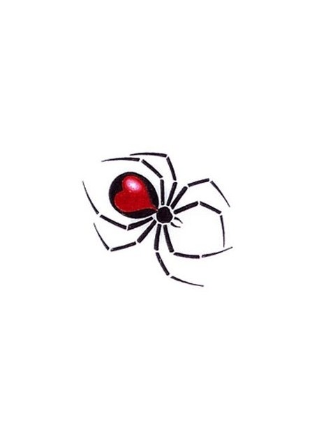 Cute small black spider with red heart print on back tattoo design